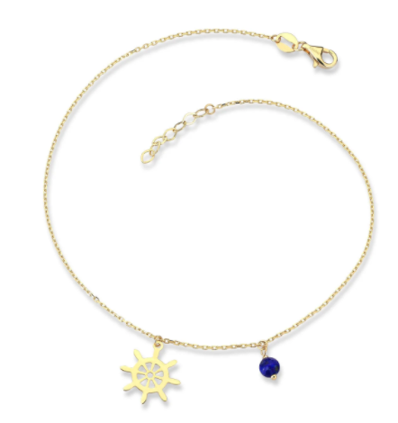 Elegant Gold Anklet with Lapis Stone