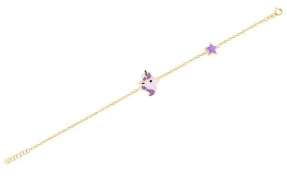 Unicorn with Star Gold Bangle for Kids