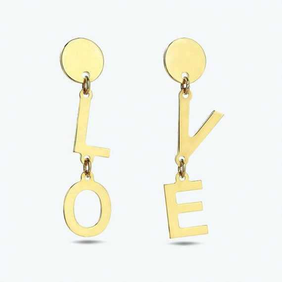 "Gold ""Lo"" and ""ve"" earrings"