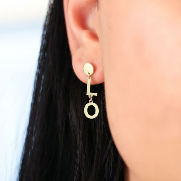 """Gold """"Lo"""" and """"ve"""" earrings"""