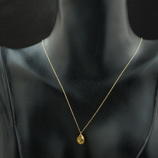 Yellow Drop Stone Ghost Gold Necklace