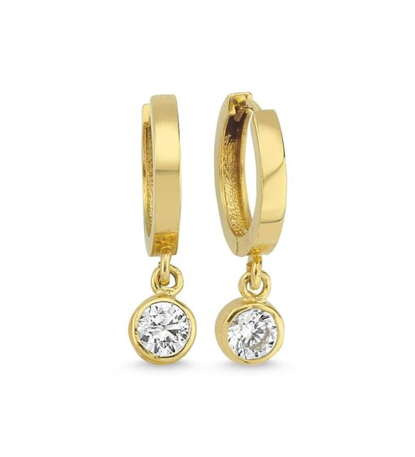 Solitaire Gold Earrings